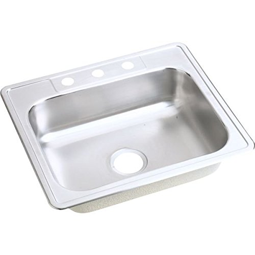 Elkay D125225 22 Gauge Stainless Steel Single Bowl Top Mount Kitchen Sink, 25 x 22 x 6.5625''
