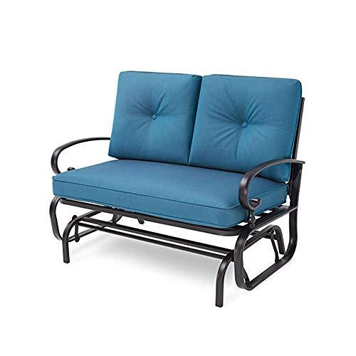 WFL Garden Double Sofa Seat Courtyard Wrought Iron Chair Set Outdoor Gliding Chair Double Garden Bench - Peacock Blue - Wfl Art