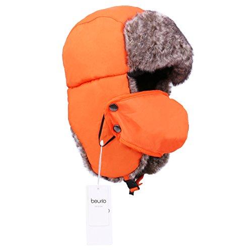 Review Beurio Orange Unisex Winter Russian Hunting Snow Hats