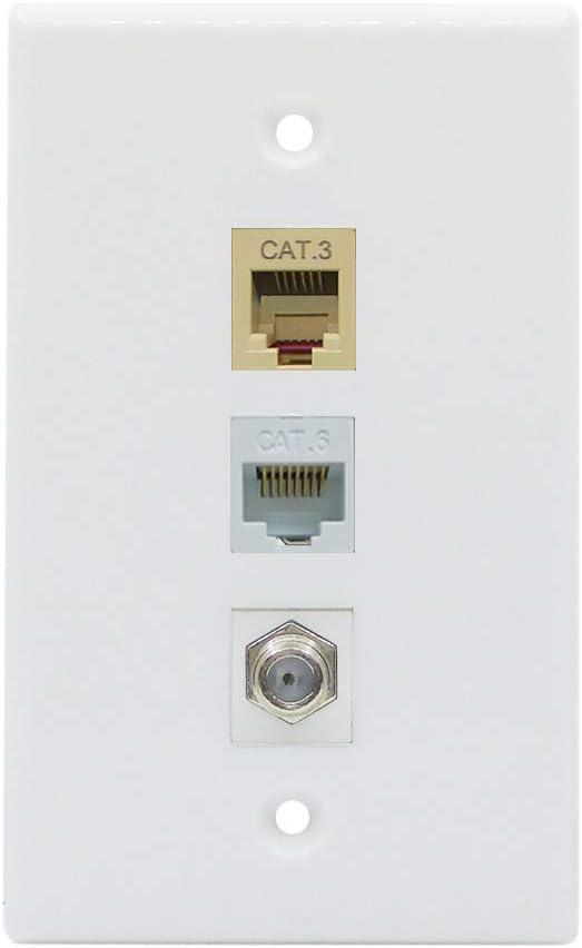 BUPLDET Ethernet Coax Phone Wall Plate - 1 Port Cat6 RJ45 Jack + 1 Port Phone RJ11/RJ12 Beige + 1 Port Coax Cable TV- F-Type