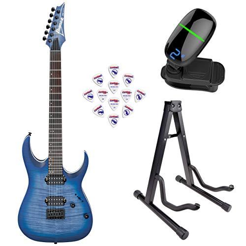 Ibanez RGA42FM RGA Standard Series Electric Guitar (Blue Lagoon Burst Flat) with Front Row Guitar Stand, tuner and pick sampler