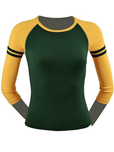Kavio! Junior Athletic Crew Neck 3/4 Sleeve Raglan Top Dark Green/Gold - Store Green Gold