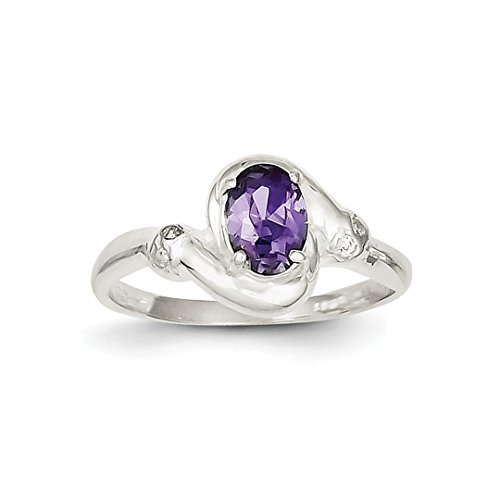 925 Sterling Silver Purple Oval Cubic Zirconia Cz Band Ring Size 7.00 Fine Jewelry Gifts For Women For Her