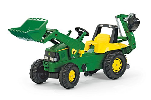 rolly toys John Deere Pedal Tractor with Working Loader and Backhoe Digger, Youth Ages 3+