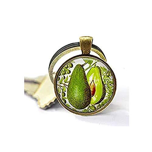 Avocado Vintage Lithograph Image - Keychain - Botanical Jewelry - Avocado Keychain - Herbivore - Vegan - Guacamole