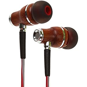 Symphonized NRG 3.0 Earbuds | Wood In-ear Noise-isolating Headphones with Mic & Volume Control (Crimson Red & Hazy Gray)