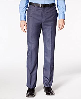 Calvin Klein Slim Fit Blue Neat Flat Front New Men's Finished Dress Pants