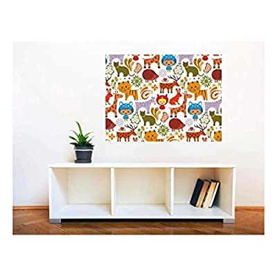 Wall26 Removable Wall Sticker/Wall Mural - Baby Animals in Garden Pattern | Creative Window View Home Decor/Wall Decor - 36
