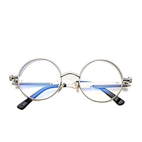 sol color de de moda Plata retro Yefree sol de de círculo Lente Gafas Marco de Gafas de metal de Marco FfaxwEq