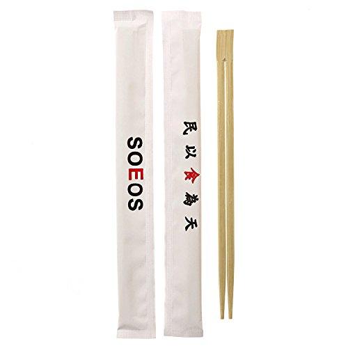 Premium Disposable Bamboo Chopsticks (100 sets), Japanese Disposable Chopsticks Bulk, 9'', Certified Quality by Soeos