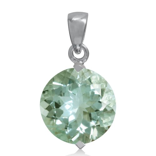 (5.45ct. Natural Green Amethyst 925 Sterling Silver Solitaire Pendant )