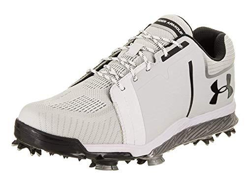 Under Armour Men's Tempo Short Golf Shoes, White/Metallic Silver/Black, 7 D(M) US