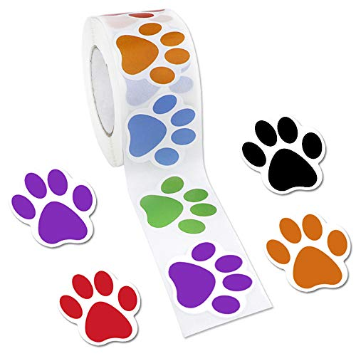 Dog Big Red Stickers - JPSOR 500ct Colorful Paw Print Stickers, 1 Roll Dog Paw Labels Stickers for Kids, 6 Colors(Red, Orange, Green, Blue, Purple, Black) (Dog Paw)