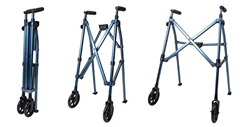 Able Life Space Saver Walker - Lightweight Folding & Height Adjustable Adult Travel Walker for Seniors + Fixed Wheels & Rear Glides - Cobalt Blue by Able Life (Image #6)
