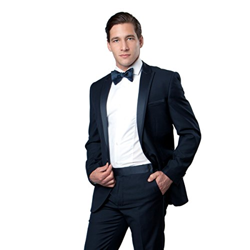 Solid Stylish Satin (Men's Solid One Button Stylish Satin Peak Lapel Two Piece Tuxedo (38R, Navy))