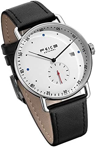 FEICE New Men's Automatic Watch Unisex Classic Bauhaus Mechanical Watch Curved Mirror Waterproof Casual Dress Watches with Leather Bands -FM506