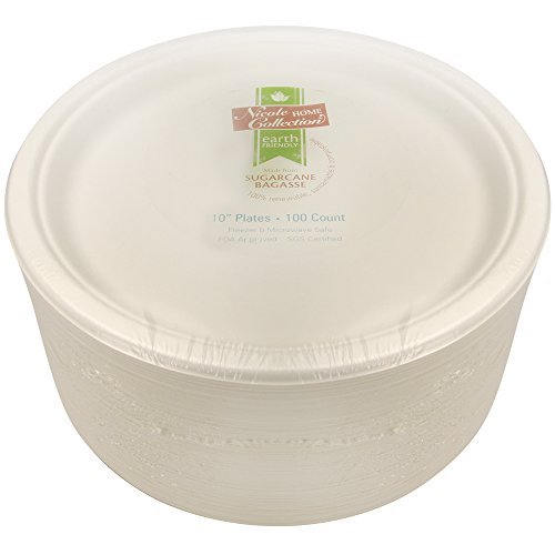 Eco-Friendly 100% Compostable Sugarcane/Bagasse Heavy Duty Plates, FDA Approved, 10 Inch, 100 Count