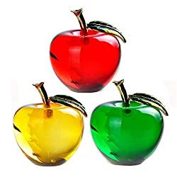 Crystal Apple Paperweight A Set Of 3