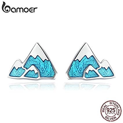 ba0801803 Amazon.com: Trendy 925 Sterling Silver Unique Iceberg Small Blue Enamel Stud  Earrings for Women Sterling Silver Jewelry Gift SCE475: Kitchen & Dining
