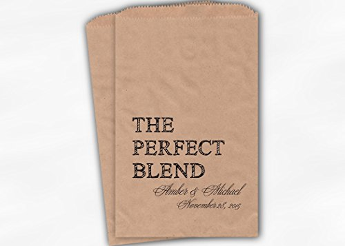 Perfect Wedding Blend Favors Coffee - The Perfect Blend Wedding Favor Bags for Coffee, Trail Mix in Black - Personalized Set of 25 Kraft Paper Bags (0219)