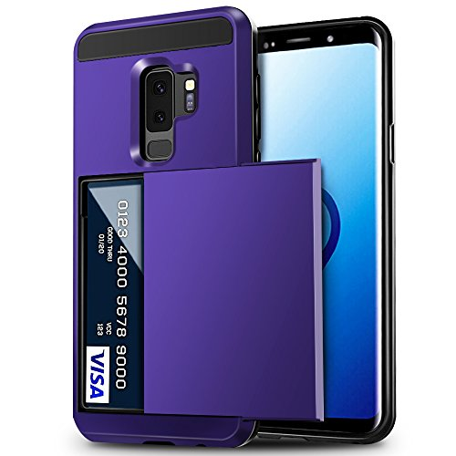 Galaxy S9 Plus Case, Anuck Shockproof Galaxy S9 Plus Wallet Case Card Pocket Anti-scratch Hard Shell Soft Rubber Bumper Protective Cover with Card Holder Slot for Samsung Galaxy S9 Plus - Purple