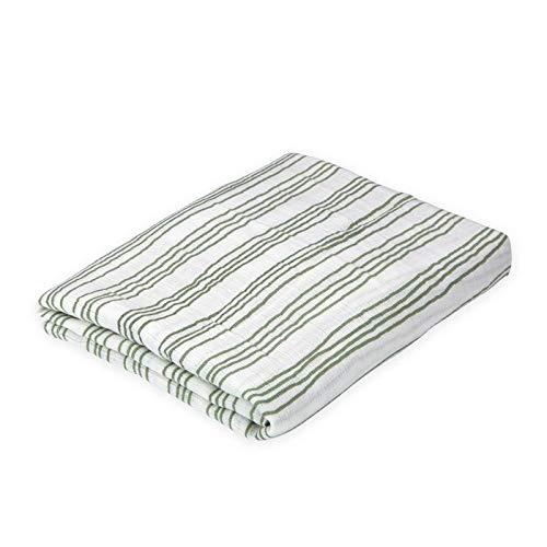Oliver & Rain - Organic Cotton Muslin Green Stripe Swaddle Blanket, NB ()