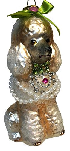 December Diamonds White Poodle Dog with Pearl Necklace Glass Christmas Ornament - Pearl Poodle
