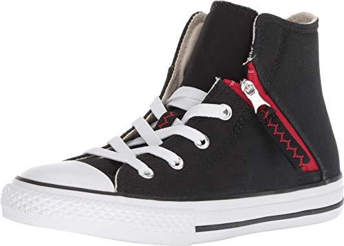 Converse Kids' Chuck Taylor All Star Pull-Zip High Top Sneaker, Black, 1 M US Little -