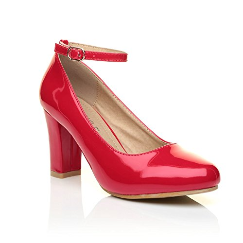 Zara Red Patent Block Heel Ankle Strap Round Toe Court Shoes c0zoAgT1s