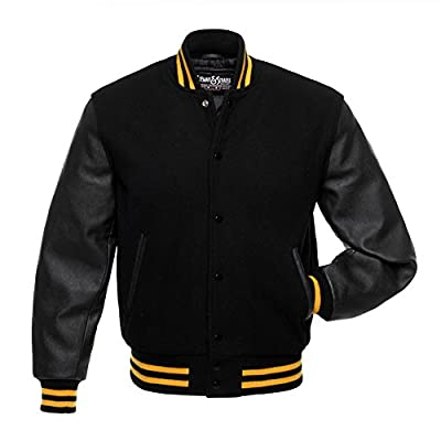 C116 Black Wool Black Leather Varsity Jacket Letterman Jacket