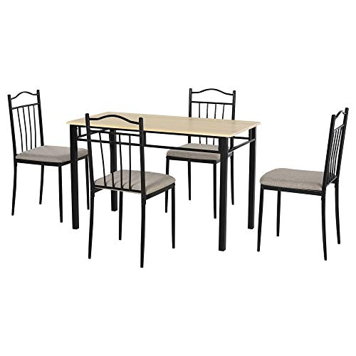 HOMCOM 5 Piece Dining Room Table Set with 4 Metal Frame Chairs for Kitchen, Dinette, Breakfast Nook, Grey