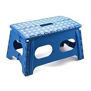 Ancho del pie plegable taburete de paso plegable multiusos de almacenaje fácil antideslizante cocina casera de agarre de goma de pies, azul