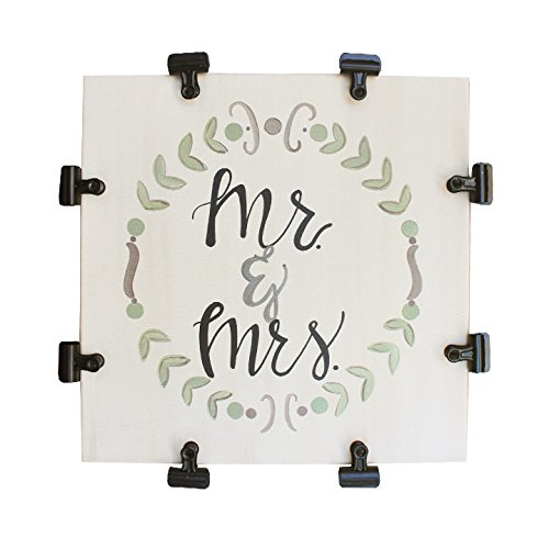 Photo Holder: Mr. and Mrs., Canvas Sign with Metal Clips, Whimsy and Co. Newlywed Gift by Whimsy
