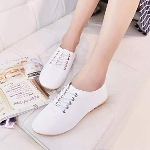 Women FALAIDUO Leisure Flat Lace Fashion Ladies White Fashion Up Comfortable Shoes Toe Retro Round 115qUxn