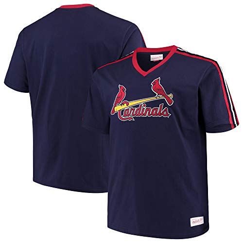 Mitchell & Ness St Louis Cardinals MLB Men's Overtime Win Vintage V-Neck T-Shirt (Medium)