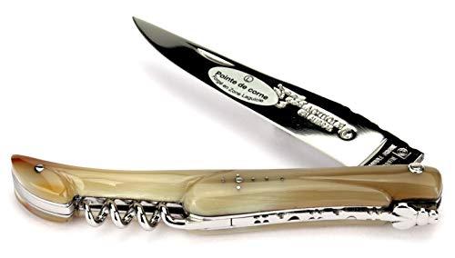 Laguiole en Aubrac Handmade French Pocket Knife 12 cm - Corkscrew - Full Horn tip Handle - Blade Stainless Steel Shiny