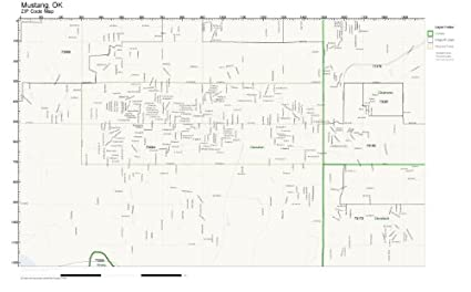 Amazon Com Zip Code Wall Map Of Mustang Ok Zip Code Map Not