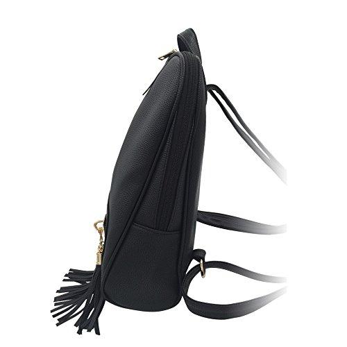 Sac Pu Wind Tassel College Femmes Couleur Black Dos À Peau Bailiang Solide n8B7qwAAI