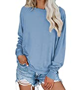 Dokotoo Womens Simple Crewneck Long Sleeve Casual Solid amp; Tie Dye Thin Pullover Sweatshirts Tops ...