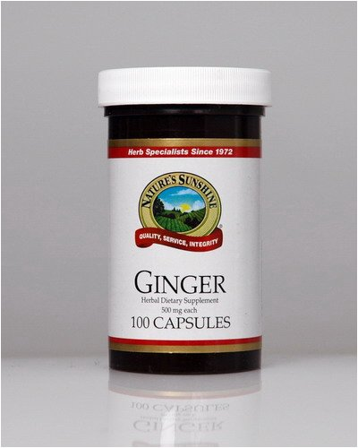 Naturessunshine Ginger Digestive System Support Herbal Dietary Supplement 500 mg 100 Capsules (Pack of 12)