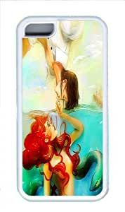 Lmf DIY phone caseDurable iphone 5c Case, The Little Mermaid Ariel and Prince Art White TPU Case for iphone 5cLmf DIY phone case