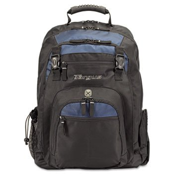 Targus 17'' Laptop Backpack, File Compartment, Audio Player Sleeve, Black/Blue