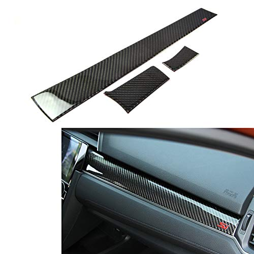 - Duoles Brand New Real Carbon Fiber Center Console Moulding Cover 3pcs For Honda Civic Si 2016-2018