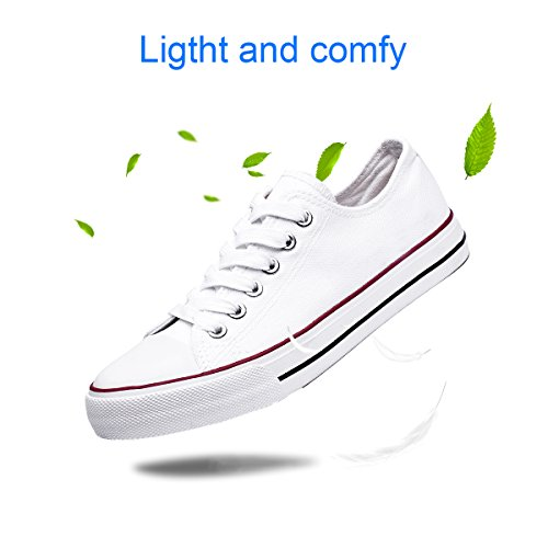 Womens Canvas Sneakers Low Cut Lace Ups Casual Walking Shoes(White,US10) by FRACORA (Image #4)