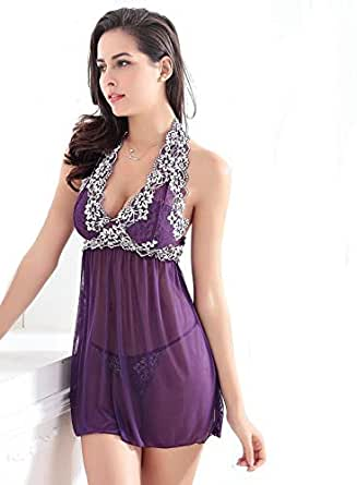 Elegant Single Hanging-neck Strap And V-neck Design And Lace Materials For Young Ladies-purple,xl