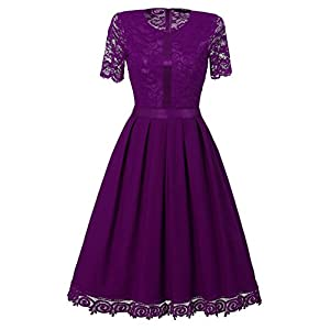 StJoyce Womens Retro Floral Lace Flared Swing Ruched Cocktail Evening Dress,Medium(6-8),Purple