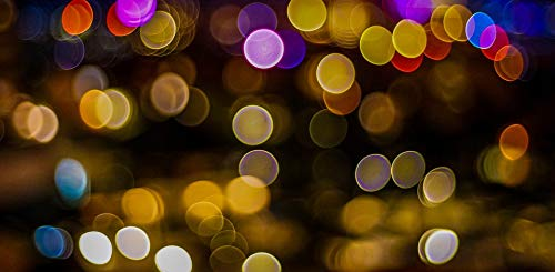 Home Comforts Framed Art for Your Wall Mexico Cancun Night Lights Colorful Bokeh Vivid Imagery 10 x 13 Frame ()