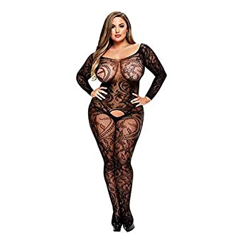 c79a21acaec Baci White Label Longsleeve Crotchless Bodystocking Black Curved Queen QS  Plus Size 1x 2X Lingeri Style