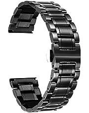 BINLUN Klockarmband i rostfritt stål Ersättningsurremmar med raka och böjda ändar Dam & herr 6 färger (guld, sliver, svart, roseguld, guld-silver tvåfärgat, silver-roséguld) 9 storlekar (12mm-24mm)
