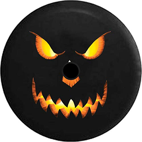 JL Series Jeep Spare Tire Cover with Backup Camera Hole Jack o Lantern - Evil Glowing Pumpkin Halloween Black 32 in -